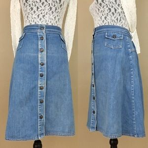 Blue Denim Jean Button Down A-Line Skirt
